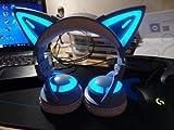 Casque sans Fil 3RGB Bluetooth 5.0 Oreilles de Chat (10 Couleurs changeantes) (Bleu)…