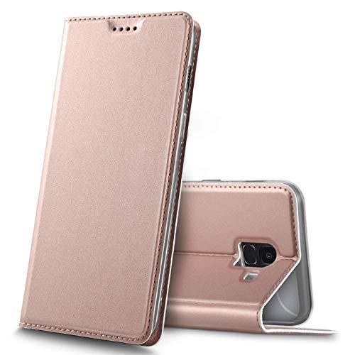 Verco Handyhülle für Galaxy J6, Premium Handy Flip Cover für Samsung Galaxy J6 2018 Hülle [integr. Magnet] Book Hülle PU Leder Tasche, Rosegold