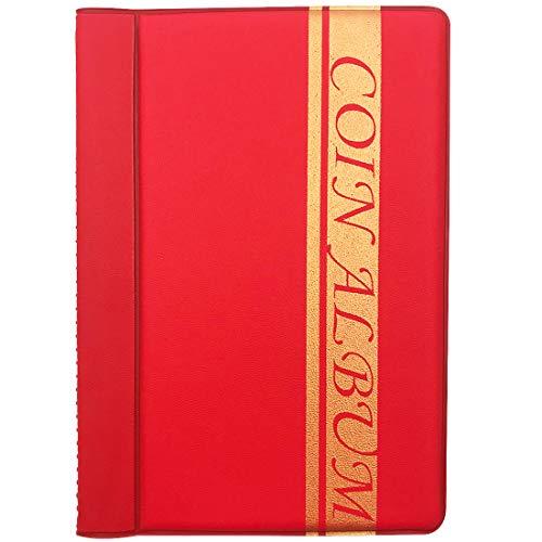 ZSWQ 120 Tasche Album della Collezione di Monete Raccoglitore per Collezione di Monete (Rosso)