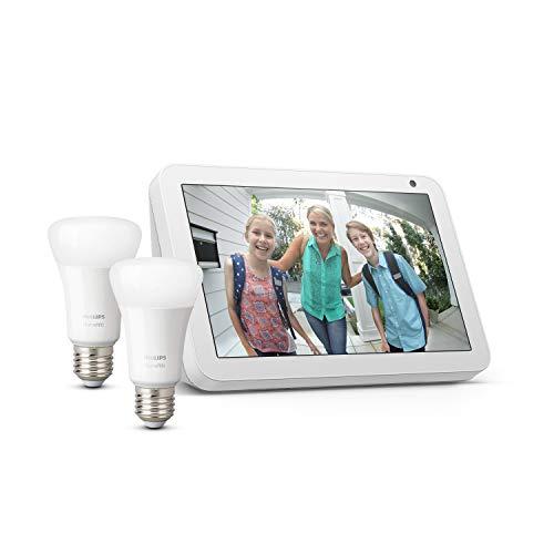 Echo Show 8 - Tessuto grigio chiaro +Lampadine intelligenti a LED Philips Hue White, confezione da 2 lampadine, compatibili con Bluetooth e Zigbee (non è necessario un hub)