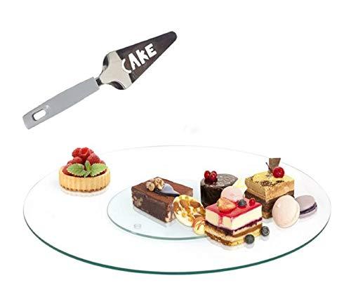 Piatto girevole 30 cm. Piatto girevole da 30 cm. Piatto girevole per torte per servire e decorare, vetro e 1 paletta per servire torte da 27 cm