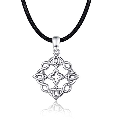KINGWHYTE Good Luck Irish Celtic Knot Necklace for Women 925 Sterling Silver with Black Leather Cord 19.5'