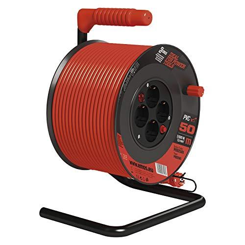 EMOS Kabeltrommel mit Schalter, 50m Kabel mit 4 Schuko Steckdosen, 1,5 mm, Indoor Leitungsroller, Schutzklasse IP20