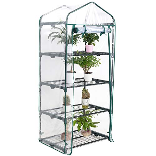Display4top 4 Tier Mini Greenhouse With Transparent Plastic PVC Cover, Indoor outdoor tent garden greenhouse, Seedlings, Herbs, or Flowers In Any Season-Gardening Rack
