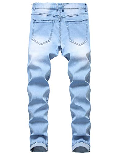 IDEALSANXUN Men's Ripped Skinny Jeans Slim Fit Distressed Stretch Jeans Pants with Holes (28, 85 Light Blue)
