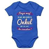 Shirtracer Sprüche Baby - Ich Habe einen verrückten Onkel lila - 3/6 Monate - Royalblau - Baby Strampler Onkel - BZ10 - Baby Body Kurzarm für Jungen und Mädchen