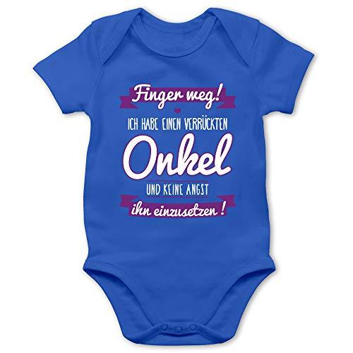 Sprüche Baby - Ich Habe einen verrückten Onkel lila - 1/3 Monate - Royalblau - Onkel Tshirt für Baby - BZ10 - Baby Body Kurzarm für Jungen und Mädchen