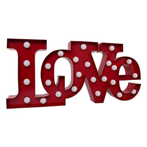 APM Marquee Letter Light Love - Letras del Alfabeto con luz romántica LED - Letras de la Bombilla - Lámpara de Noche Decorativa Vintage - Metal 9' Rojo