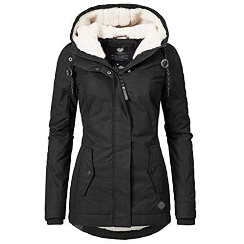 Damen Jacke Parka Mantel Winterjacke Fell Kapuze Warm Gefüttert Waschbar (Color : Black, Size : XXL)