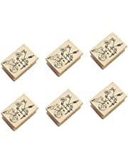 NUOBESTY Wooden Rubber Stamps Animals and Plants Patterns Stamps Set for DIY Craft Card Scrapbooking Supplies 6pcs (Random Delivery)