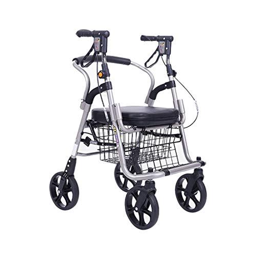Rollatoren Klappbar Gehhilfen Senioren Faltbar Rolator Leichtmetall Faltbar Topro Troja Dietz Taima Xc (Color : Silver, Size : 65 * 54 * 89cm)