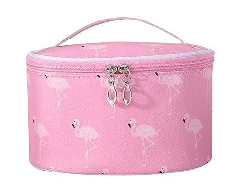 Tragbare Flamingo Kosmetiktasche für Mädchen, Frauen Reise Schminktasche Große Make-Up Taschen Wasserdicht Kulturbeutel mit Make-up Pinselhalter Make Up Etui mit Griff,Pink