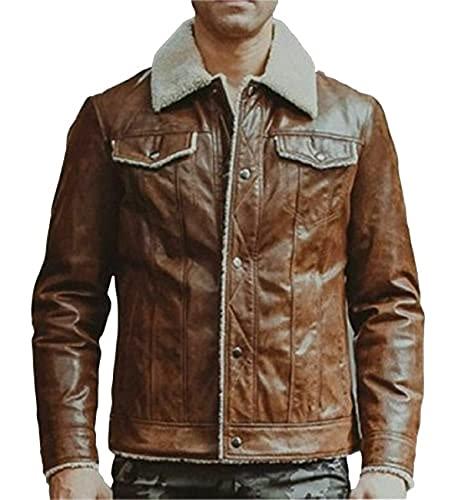 HiFacon - Giacca invernale in vera pelle, da uomo, per motociclista Cafe Racer, colore: marrone Marrone - Giacca in pelle con collo di pelliccia XL