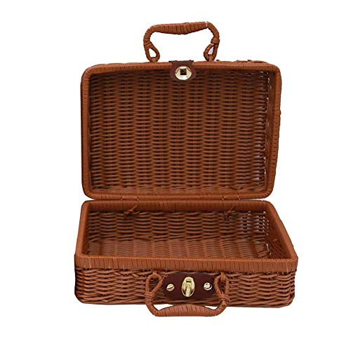 Minsa - Cesta de mimbre para pícnic, 1 unidad 30*21*13CM Brown L