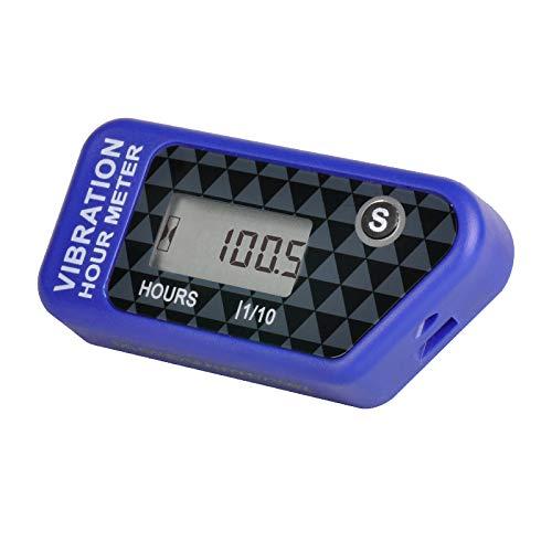 Yooreal cronógrafo inalámbrico a batería, tractor de césped, carrito de golf, motosierra, kart, trituradora de madera, separador de troncos, sensor de vibración ATV marino (Blue)