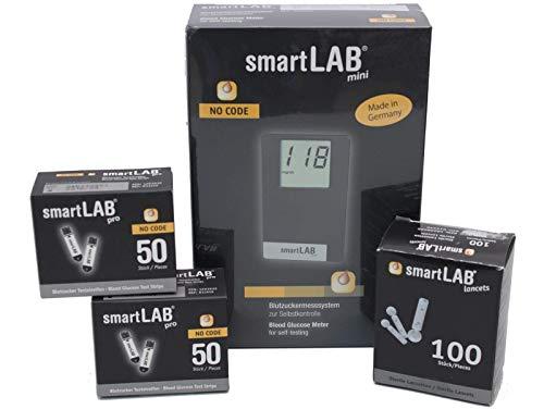 smartLAB mini (mmol/L) Monitoreo de glucosa en la sangre como Bundel | Sistema de control de glucosa en la sangre en formato de tarjeta de...