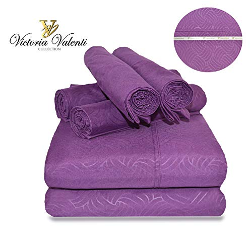Victoria Valenti Embossed Sheet Set with 4 Pillow Cases Double Brushed and Ultra Soft with Deep Pockets for Extra Deep Mattress Microfiber Hypoallergenic Queen Purple