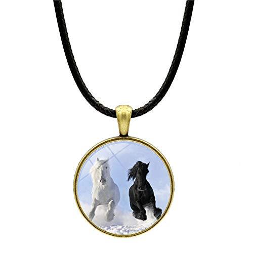 Collar con colgante de caballo blanco de la nieve para mujeres y chicos mejores amigos colgante vintage suéter cadena collar joyería accesorios de ropa