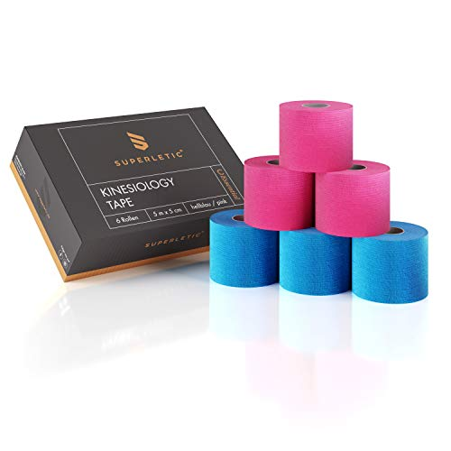 SUPERLETIC Kinesiologie Tape Essential [5m x 5cm] Kinesiology Tape Set - wasserfest/elastisch – Physio Tape/Sport Tape (blau - pink) (6er Pack)