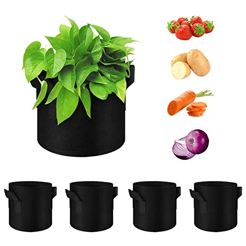 WHATWEARS 5 Pack Vegetable Grow Bags — Gardening Plant Growing Bags — Breathable Non-woven Fabric Plant Pots with Handles Indoor & Outdoor Grow Containers for Vegetable/Flower/Plant/Fruits, 5 Gallon
