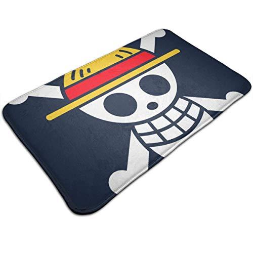 Huttgh Luffy - Felpudo antideslizante para puerta de entrada de baño, diseño de bandera pirata Luffy