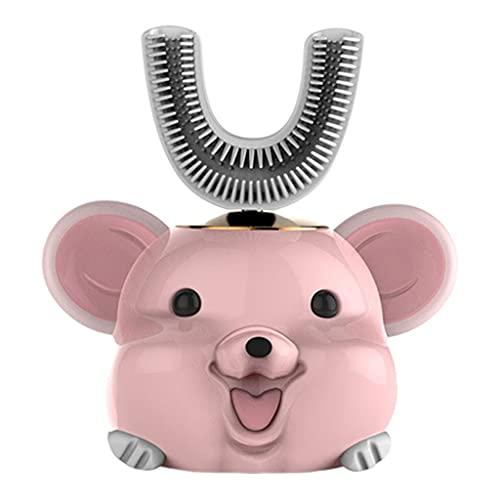 F Fityle Cepillo de dientes eléctrico inteligente de 360 ° para niños en forma de U, cepillo de dientes recargable de cinco modos, suministros de - Rata rosa