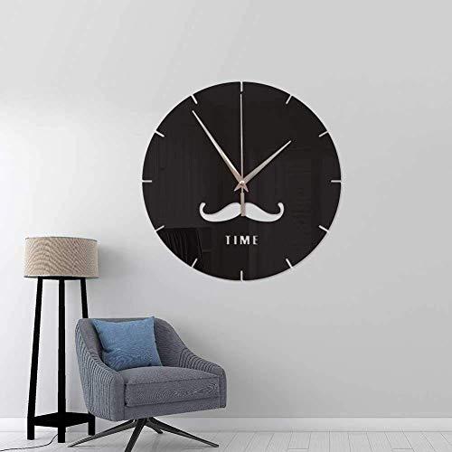 LNDDP Santa Moustache Calm Round Wanduhr Silent Non Ticking Ölgemälde Home Office Art Malerei Uhr für Kinder Schreibtisch dekorative Uhr