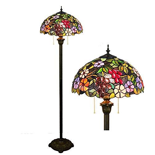 Tiffany Stehlampe, Henley 16-Zoll Glasmalerei Standlampe Schlafzimmer Lampe Art Deco Stehleuchte Tiffany Stil Vintage Standleuchte Für Wohnzimmer, 2-Flammig E27