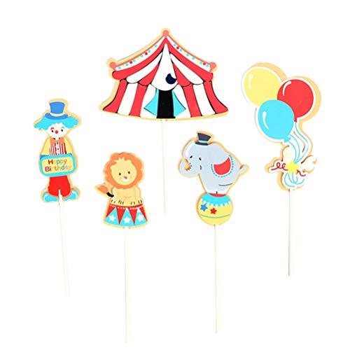 Amosfun 5 unids Feliz cumpleaños Toppe Circo Payaso Globos Frutas selecciones Magdalena decoración