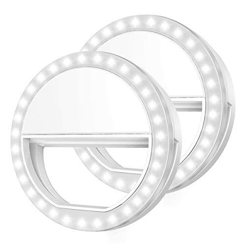 Criacr 【2 Pack】 Selfie Licht, 36 LED Selfie Licht Ring, USB Wiederaufladbare Selfie Ringlicht, Handy Selfie Licht mit 3 Einstellbare Helligkeiten, Ringleuchte für Smartphone & Tablets