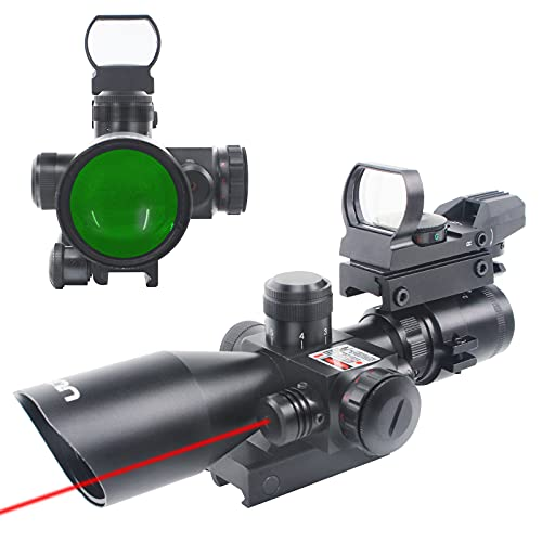 UUQ 2.5-10x40 Tactical Rifle Scope Dual Illuminated Mil-dot W/RED Laser Sight, Rail Mount and 4 Reticle Red/Green Dot Reflex Sight