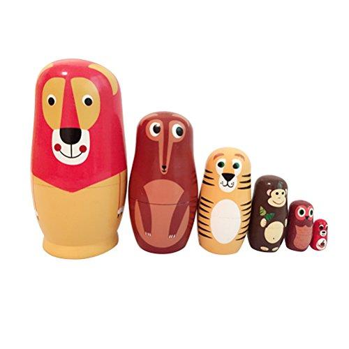 ULTNICE Babuschka Verschachtelung Matroschka Holz Russian Nesting Dolls Kinder Spielzeug Geschenk in Tier-Form