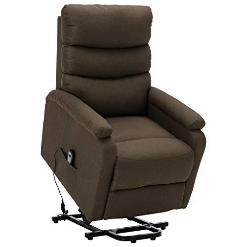 vidaXL Sessel mit Aufstehhilfe Aufstehsessel Fernsehsessel Relaxsessel TV Ruhesessel Polstersessel Liegesessel Loungesessel Braun Stoff