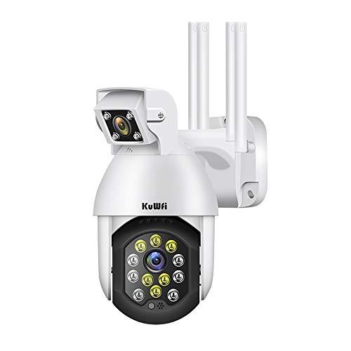 KuWFi - Cámara de vigilancia con WiFi exterior, 1080p, doble lente Ultra HD, cámara de seguridad wifi con proyectores, visión nocturna a color, audio bidireccional, detección de movimiento y alertas