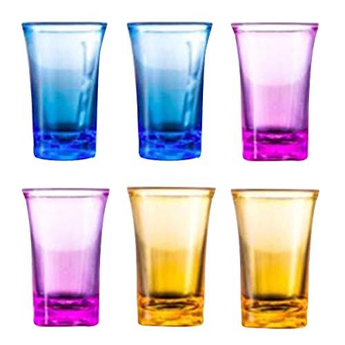 Jinghengrong 6pcs Copas de Vino Copas de Cristal acrílico Partido para dispensador Juegos de Beber Titular cóctel, Colorido