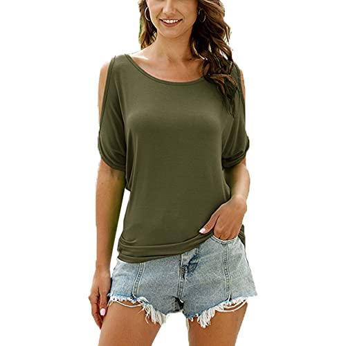 RWXXDSN Camiseta Casual Suelta De MurciéLago con Hombros Descubiertos Y Cuello Redondo para Mujer