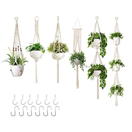 GROWNEER 6 Packs Macrame Plant Hangers with 12 Hooks, Different Tiers, Handmade Cotton Rope Hanging...