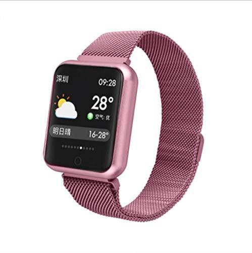 NUNGBE Pulsera Inteligente, rastreador de Fitness Deportivo para Mujer, Monitor de frecuencia cardíaca, presión Arterial IP68 Pulsera Inteligente Resistente al Agua-Steel_Pink