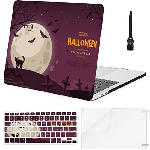 MacBook Pro13 inch Retina (2012-2015) with Retina Display,1502,A1425 Case Halloween Banner Cat Cemetery Vector Flat MacBook Case with Keyboard Cover Screen Protector Cleaning Brush