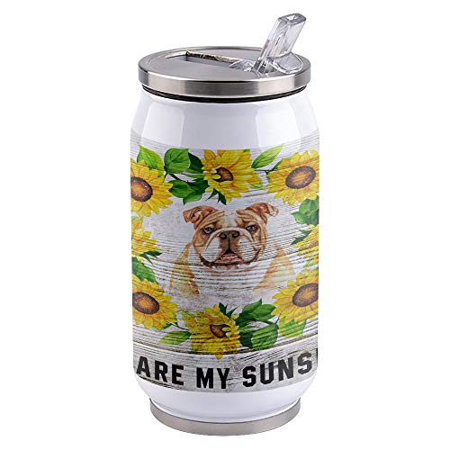 Flower and Animal Stainless Steel Tumblers, Vacuum Insulated Tumblers, Double Wall Travel Cup with Lids and Straw for Home Sports Office - Sunflower Wreath Surround Lovely French Bulldog