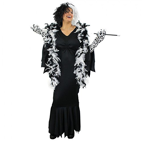 I LOVE FANCY DRESS LTD Disfraz para Adultos, diseño de Cruella de Vil, Incluye Vestido Negro Largo, Peluca, Guantes Largos, Boa de Plumas y Boquilla Ideal para Fiestas de Halloween (X-Small)
