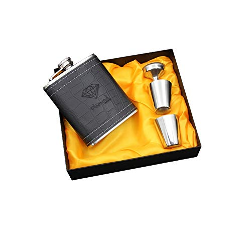 QXYOGO Petaca Mini 7oz Copas de Acero Inoxidable Hip Flask Funnel Flagon con Juego de Caja de Regalo Negra de PU Llaweather 1