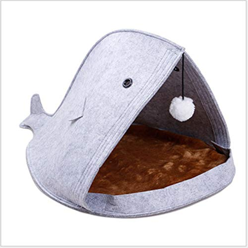 Watkings schattige katten Dog Nest Bed Mat Felt Pet Nest Washable Fish-Shaped Shark Cats Litter Portable Foldable