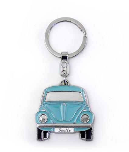BRISA VW Collection - Volkswagen Käfer Schlüssel-Anhänger in edler Geschenkdose mit Prägung, Geschenk-Idee/Fan-Souvenir/Retro-Vintage-Artikel (Blau/Softemaille/Verchromt)