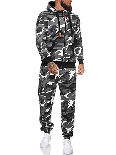 Koburas Herren Jogginganzug Trainingsanzug Männer Sportanzug Fitness Outfit Streetwear Tracksuit Jogginghose Hoodie-Sporthose Sportkleidung Comfort Fit Modell KO-13112 Weiß Camouflage S
