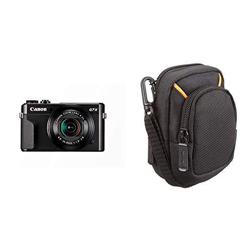 Canon PowerShot G7 X Mark II Digitalkamera (mit klappbarem Display, 20,1 MP) schwarz & AmazonBasics Kameratasche für Kompaktkameras, mittlere Größe