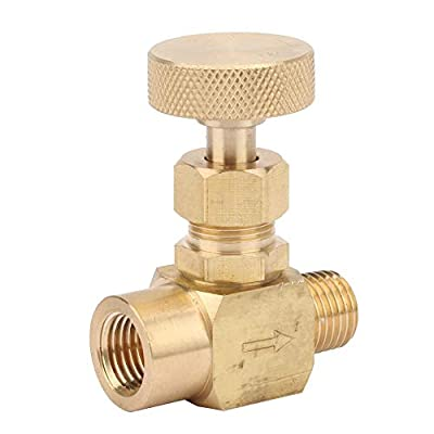 "Classic Brass High Pressure Instrument Needle Control Valve 1/4"" NPT 60° Thread Angle Needle Valve Female Thread Stainless Steel Flow Control Valve (1/8NPT?1/8NPT?) by KEYREN"