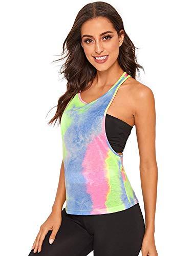 SweatyRocks Women's Sleeveless Flowy Loose Fit Racerback Yoga Workout Tank Top Tie Dye Blue S