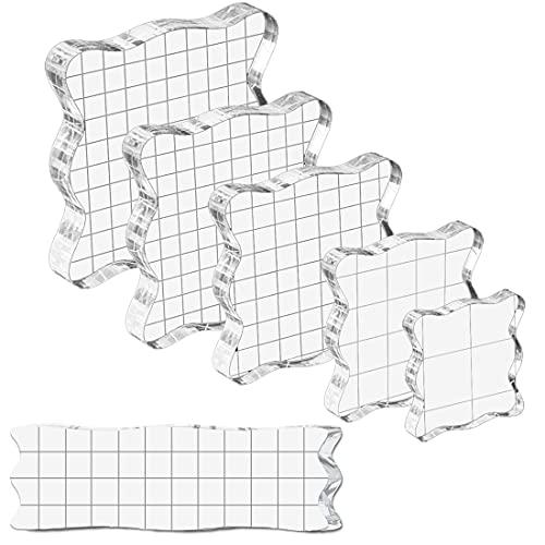 7 Stück Acryl Stempelblock Set, Transparent Stempel Blöcke Werkzeuge Silikonstempel mit Gitter für DIY Scrapbook Fotoalbum Handwerk
