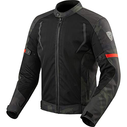 REV'IT! Motorradjacke mit Protektoren Motorrad Jacke Torque Textiljacke schwarz/Army grün L, Herren, Tourer, Sommer